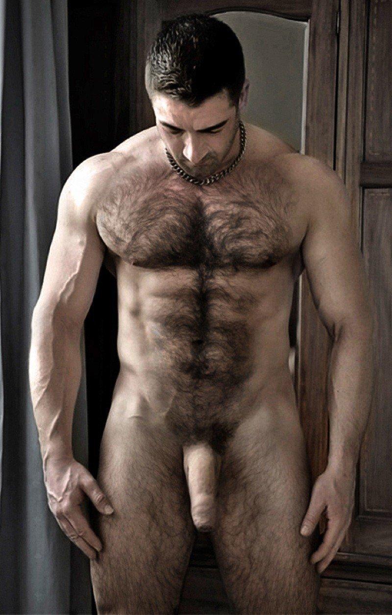 Muscular Hairy Nude Selfie Man