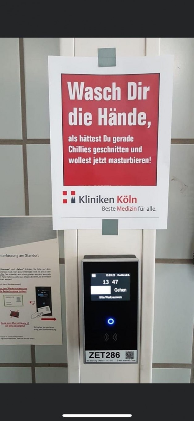 That should do the trick:  German sign in a public hospital:...