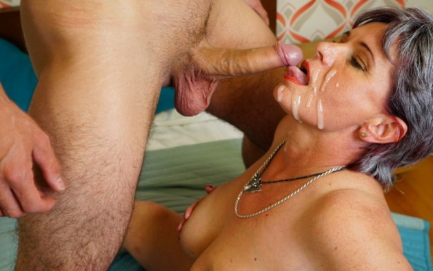 Red lips, grey hair and white sperm-  Photo in topic Facial Cumshot by Antti2