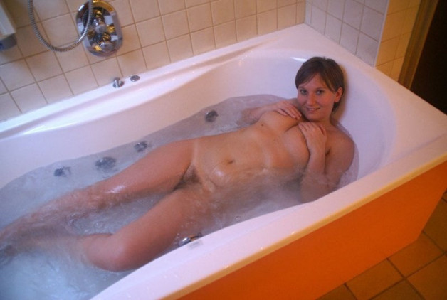 She´s sweet and she´s in the tub with enough space left for...