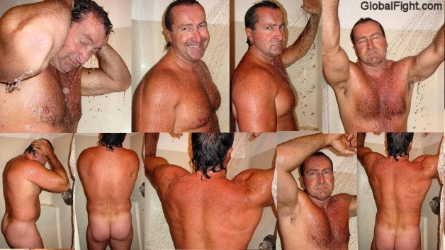 Naked Musclebear Dad Showering VIEW HIS DAILY POSTS OF...