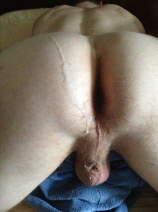My freshly used ass with hot cum dripping down on it.-  Photo in topic Gay by travisaustin76