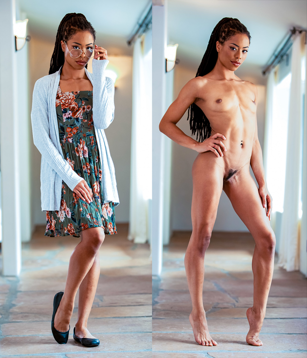 Ebony hottie Kira Noir clothed then nude before and after...